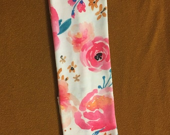 Pink Floral Jersey Cotton Headband
