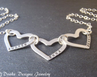 Sterling silver linked hearts custom name necklace   personalized mothers necklace with names   valentines day gift for wife