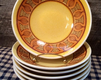 1960u0027s Set of 5 (FIVE) Taylor SmithTaylor Honey Gold- Coupe SOUP BOWLS Atomic Onion mid century mad men & Mad men dinnerware   Etsy