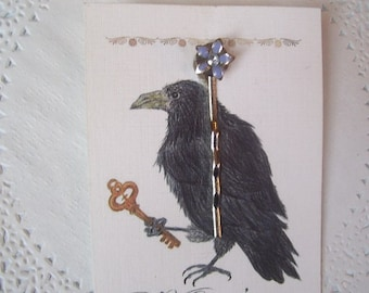 Flower Hair Pin (315) - Lavender Flower Hair Pin - Purple Flower Hair Pin - Rhinestone hair pin - recycled jewelry