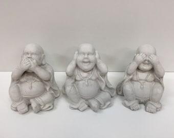 3 ' er set of sweet concrete buddhas in white 12 cm | Otera