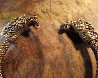 Dragon Head Viking Bracelet, Torque-Bracelet, Wrist Viking Torque, Wrist Celtic Bracelet, Dragon Bracelet, Nordic Bracelet, Free Shipping