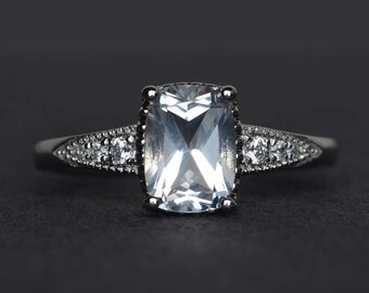 white topaz ring cushion cut engagement ring promise ring sterling silver ring gemstone ring