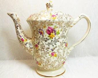 James Kent LTD, Pearl Delight, Vintage Teapot, Fenton Granville, Gold Chintz Floral
