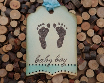 Baby Boy Tag, Baby Gift Tag, Baby Shower Tag, Gift Tag, Baby Footprints, Blue Baby Tag