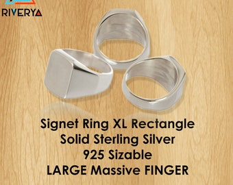 Customized Ring, Sterling Silver Ring, Rectangle Ring, Heavy Ring, Large Ring, Signet Ring, Heavy Silver Ring, Big Finger Ring, Bikers Ring
