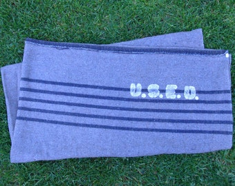 WWll Military Stenciled Grey Wool Camp Blanket