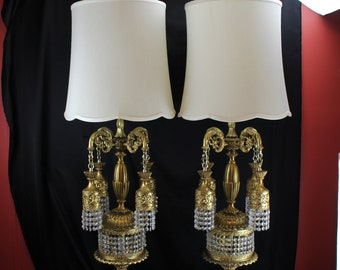 Pair Large Gold & Crystal Chandelier Table Lamps Loevsky and Loevsky New Jersey