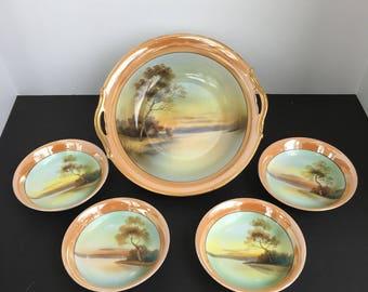 Vintage Noritake Lusterware Bowl w/ Pierced Handles and  4 Small Matching Bowls, Morimura M Wreath Green Stamp