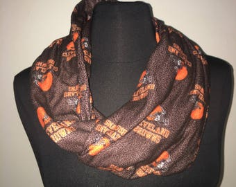 Repurposed/Up-cycled Cleveland Browns Infinity Scarf