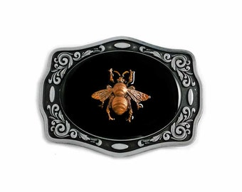 Belt Buckle Burnished Bee Inlaid in Hand Painted Glossy Black Onyx Enamel Ornate Metal Buckle Neo Victorian Inspired Custom Colors Available
