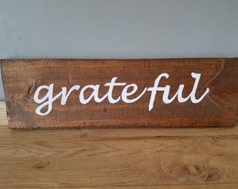 "Hand painted wooden sign- ""grateful"""