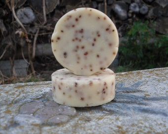 Peppermint Goat Milk Cranberry Seeds Cold Process Soap Natural Organic Ingredients.  Travel, Camping, Trial, Guest Soap, Stocking Stuffer
