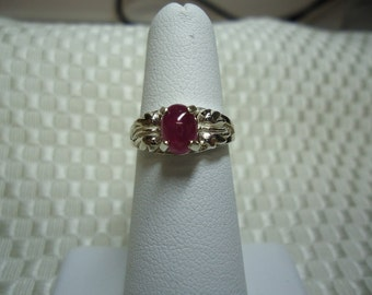 Oval Ruby Cabochon Ring in Sterling Silver   #816
