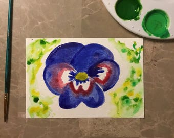 "Watercolor Postcard ""So Blue Pansy"""