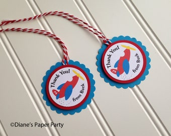 Airplane Thank You Favor Tags for Airplane Birthday or Baby Shower, Personalized set of 12