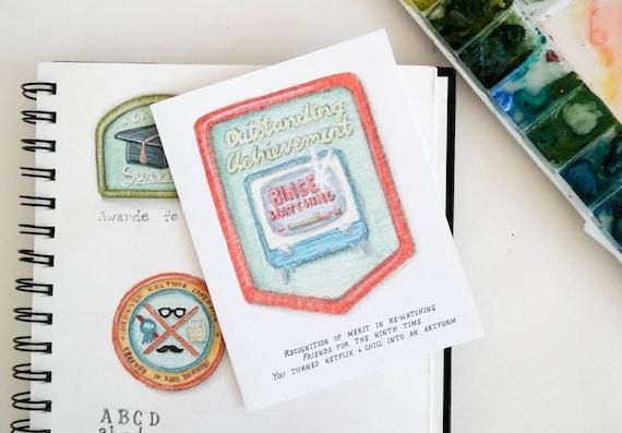 Binge Watching Merit Badge Greeting Card