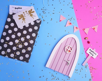 Tooth Fairy door lilac with personalised signpost & personalised letter pretend play magic fairies gift for girls room elf door dummy fairy