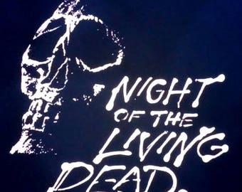 """BACK PATCH - Night of the Living Dead - canvas screen print 11"""" x 11"""" - HORROR - George Romero, Zombies"""