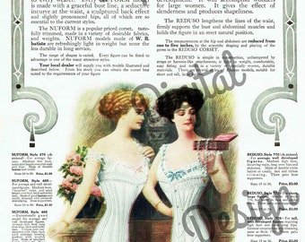 Digital Large Vintage Antique 1910s W.B. Reduso Corsets Magazine Ad - Print at Home Decor - INSTANT DOWNLOAD