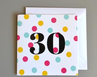 30th Birthday Card - 30- Thirty - Pink Polka Dot Birthday Card for Her - thirtieth birthday card for women
