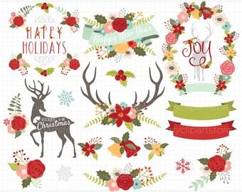 Clipart - Christmas Reindeer / Antler Silhouettes - Digital Clip Art (Instant Download)