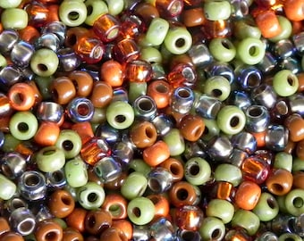 8/0 Seed Bead Mix - 15 Grams - Exclusive to SupplyEmporium Fall Mix 8/0 Toho and Miyuki Seed Beads - 1114 - Orange and Green 8/0 Bead Mix