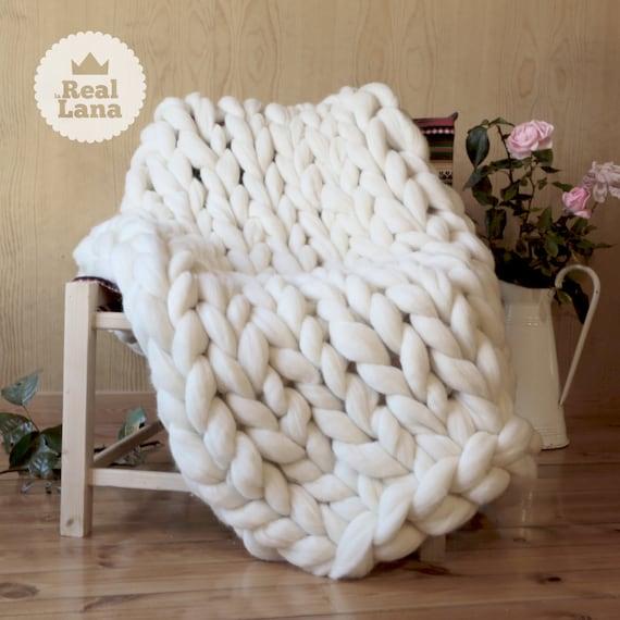 couverture xxl blanc de laine m rinos en m che chunky. Black Bedroom Furniture Sets. Home Design Ideas