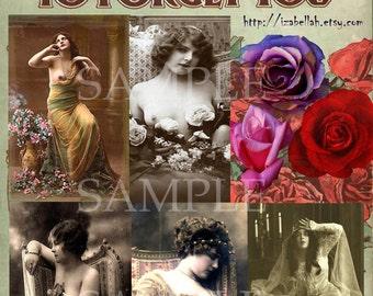 Instant Digital Download Digital Collage Sheet Vintage Victorian Scrap Beautiful Women Bohemian Gypsy Journaling Mixed media