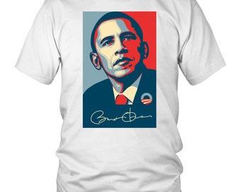 Barack Obama Signed Abstract Portrait T-shirt, Political Tee, USA, Obama President, Signature, America, White House, Graphic Shirt