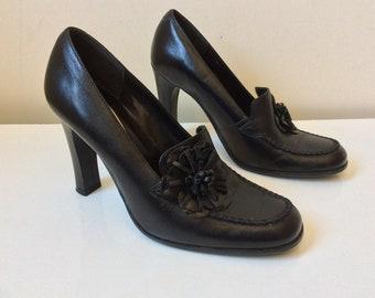 Vintage Dolcis black leather high heel shoes UK size 40