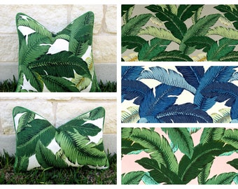 Green Tropical Pillow-Green and White Outdoor Pillow Cover-Tropical Leaf Pillow Cover-Pink or Grey Tropical Print-  Swaying Palms