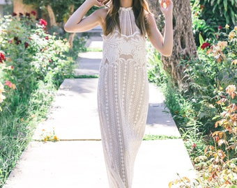 Bohemian Wedding Dress, Boho Wedding Dress,  Boho Lace Wedding Dress, Collar Wedding Dress