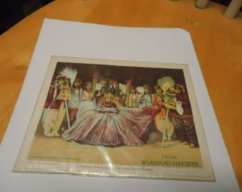 Vintage 1893 Mc Laughlin's XXXX Coffee Advertisement in plastic named A Native Princess and her Suite, collectble, by Donaldson Brothers