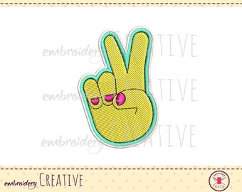 Peace hand embroidery design for patch