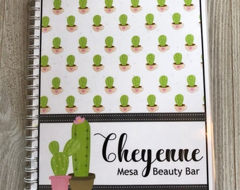 NEW!! Pre-Dated Design!!! Yearly Appointment Book with Income Tracking - Personalized -Cute Cactus Design