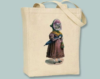 Victorian Lady Cat  illustration on Canvas Tote -- Selection of sizes available
