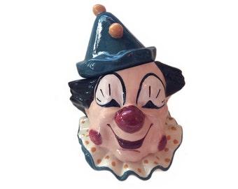Vintage Clown Cookie Jar Studio Art Ceramic Happy Clown Decor Vintage Smiling Clown 1968 Original