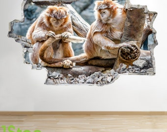 Monkey Wall Sticker 3d Look - Bedroom Lounge Nature Animal Wall Decal Z719
