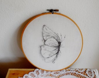 Set of Two...Transfer On Fabric Drawing...Butterflies...Hand Made Home Art...Home Decoration...Wall Decoration