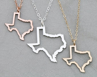 Texas State Necklace • Texas Gold Outline Texas Gift Bridesmaid Necklace Friend Gift Jewelry Texas Charm Rose Gold Texas Pendant