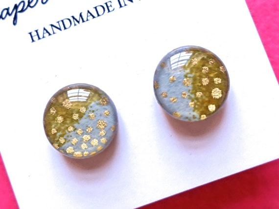 Earth Tone Stud Earrings, Japanese paper earrings, studs, ombre earrings, gold earrings, gold studs, gold stud earrings, hypoallergenic