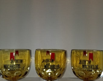 Set of 3 Vintage, Collectible Yellow Michelob Beer Goblet, Glasses, Glass.  Bar, Man Cave