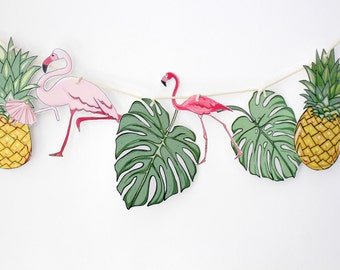Paper Garland Kit, Paper Craft Kit, DIY Paper Bunting, Craft Kit, DIY kit, Tropical Banner, Tropical Decorations, Tropical Garland