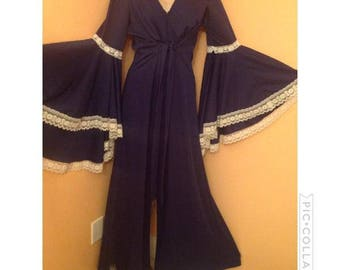 Vintage 1970s Angel Sleeves jumpsuit 7/8 9/10