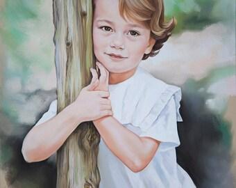 Pastel portrait, Custom child portrait,