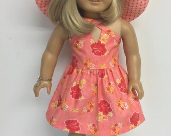 18 inch doll clothes fit American Girl Doll - Summer sundress, Phoebe hat, necklace and sandals