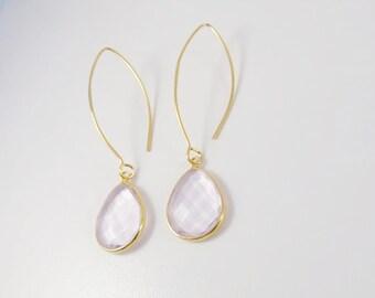 Rose Quartz Earrings, Pink Stone Earrings, Drop Stone Earrings, Gold Dangle Earrings, Teardrop Earrings, Summer Earrings, Sterling Silver