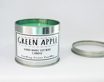 Apple Candle, Fruity Scented Candle, Tin Candle, Scented Candle, Soy Wax Candle, Candle Tin, Apple Scent, Large Candle, Strong Candle