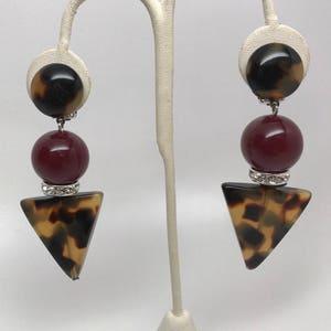 Angela Caputi Italian Designer Burgundy, Tortoise Resin & Rhinestone Earrings